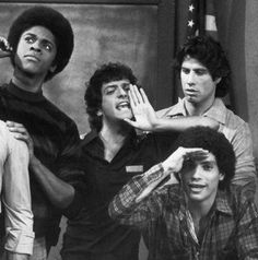 The cast of 'Welcome Back Kotter' -  Lawrence Hilton-Jacobs, Ron Palillo, John Travolta, Robert Hegyes.