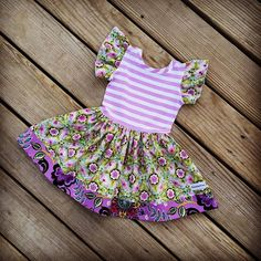 Girls lavender stripe floral dress Spring baby by SweetWhitePeony