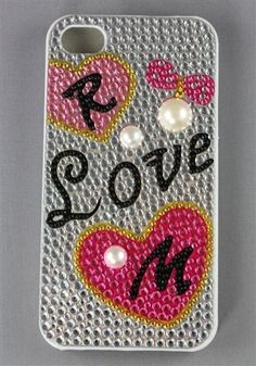 I Phone Case / R Love M Design / Plastic Case With Crystal Bead / 4G / 4S