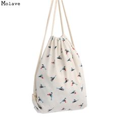 Naivety Women Bag Bird Patten Printing Drawstring Backpack Cute Fabric Shopping Tote 2017 New 20S6095 drop shipping-in Backpacks from Luggage & Bags on Aliexpress.com | Alibaba Group