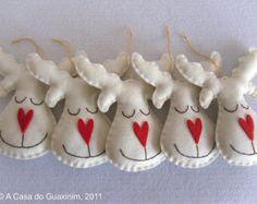 Conjunto de 6 renos perla - ornamentos de la Navidad