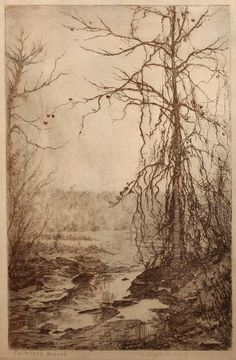 Adolph Robert Shulz (1869-1963), Jacksons Branch, Aquatint Etching, 5 x 8 inches