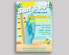 Surf Birthday Invitation Surf Birthday Party Invitation Surf Birthday Party Surf Invitation Boy Girl surfing waves, beach, surfboard 7CDBP #birthdayInvites #birthdayPartyInvites #birthday