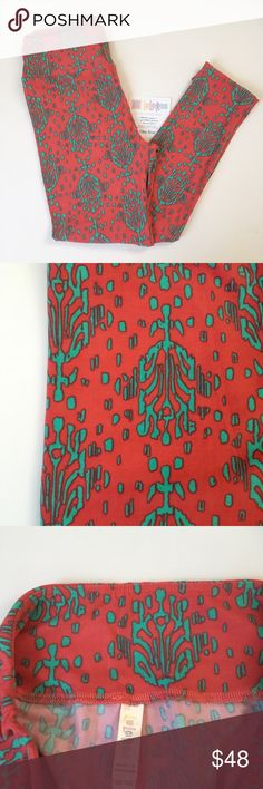 Lularoe OS Printed Leggings Tribal like.Beautiful colors of  subtle salmon and bright teal! NWT. One size fits 2-12. Pet and smoke free home. LuLaRoe Other
