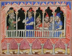 A king and his noblemen are talking to each other in a palace. They are behind some pillars. #manuscript #illuminations #illuminated #pillars #palace #architectural