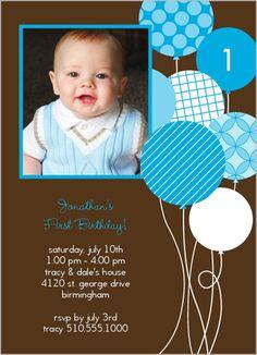1st birthday balloon party invites?