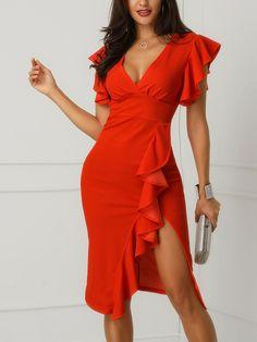 V-Neck Ruffles Design Slit Sheath Dress Cheap Prom Dresses, Cute Dresses, Beautiful Dresses, Casual Dresses, Short Dresses, Summer Dresses, Affordable Prom Dresses, Red Dress Outfit, Blouse Dress