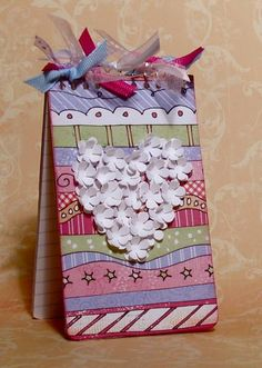 Little Decorated Notebook by t.arvelo - Cards and Paper Crafts at Splitcoaststampers - love the punched flower heart