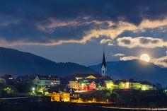 Radovljica at supermoon, Slovenia