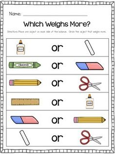 Kindergarten Measurement: Comparing two objects in Weight (Could be both Math and Science) Measurement Kindergarten, Measurement Activities, Math Measurement, Kindergarten Math Activities, Preschool Science, Homeschool Math, Kindergarten Classroom, Fun Math, Kids Math
