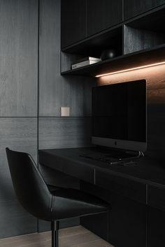 Study Room Design, Home Room Design, Small Office Design, Office Interior Design, Dark Interiors, Office Interiors, Home Decor Furniture, Furniture Design, Pc Table