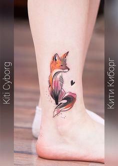 Fox tattoo on leg illustrations by Ekaterina Petrova Leg Tattoos, Flower Tattoos, Tattoos For Guys, Tattoos For Women, Cool Tattoos, Tatoos, Phoenix Feather Tattoos, Watercolor Fox Tattoos, Tattoo Feminina
