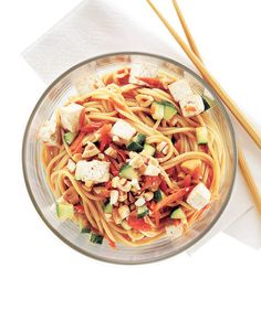 Cool Asian Noodles With Tofu and Cashews | This Asian-inspired salad is full of good-for-you ingredients and served cold, making it the ideal midday meal.