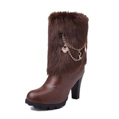 MayMeenth Women's Round Closed Toe Low-top High Heels Solid PU Boots * Be sure to check out this awesome product.