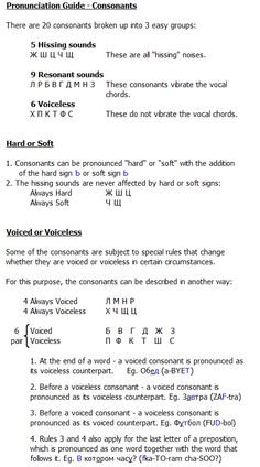 Pronunciation Guide - Consonants