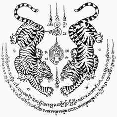 Muay Thai Tattoo symbols and meanings Tigres jumeaux Sak Yant [tatouage de yantra] tatouage Muay Thai Tatuagem Yantra, Tatuagem Sak Yant, Yantra Tattoo, Sak Yant Tattoo, Hamsa Tattoo, Mandala Tattoo, Tattoo Arm, Boxer Tattoo, Bicep Tattoos