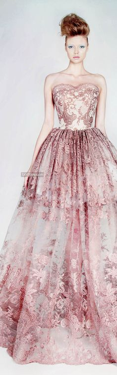 Rami Kadi Les Jardins Suspendus | muted pink | lace | embellishment | embroidery | sweetheart neckline | a-line evening gown