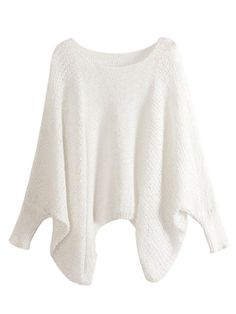 Choies White Bat Long Sleeve Stitch Knitted Sweater FOR American Women Girl New #choies #Fashion