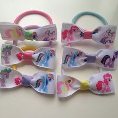 12 My Little Pony Birthday Party Favor Elastic Hairbow Ties My by OliverAndMay My Little Pony Birthday Party, 4th Birthday Parties, Birthday Party Favors, Girl Birthday, Birthday Ideas, Rainbow Dash Party, My Lil Pony, Horse Party, Little Poney