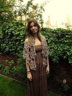 crochet womans shawl caplet scarf brown clothing lace boho bohemian summer one size handmade