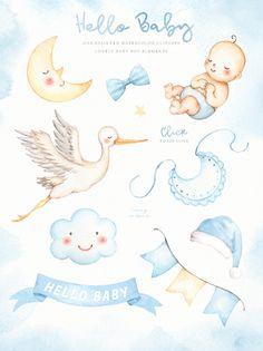 Hello Baby Blue Watercolor Clip Arts by everysunsun on Baby Illustration, Watercolor Illustration, Owl Clip Art, Baby Shower Clipart, Baby Scrapbook, Stork, Baby Cards, Boy Room, Graphic