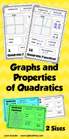 Properties of Quadratic Functions for Interactive notebooks or Stations. 7 properties plus graph in 2 sizes. Great Practice.