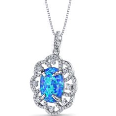 MSRP: $199.99  Our Price: $99.99  Savings: $100.00    Item Number: SP11218    Availability: Usually Ships in 5 Business Days    PRODUCT DESCRIPTION:    With fascinating depth of gorgeous hues, a beautiful Created Blue Opal sits prominently at the center of this beautiful Victorian Style Halo ring for her. This gorgeous pendant is fashioned in sleek sterling silver with brilliant cubic zirconia in a intricate halo design.    Opal is October's birthstone and would make a perfect gift for the…