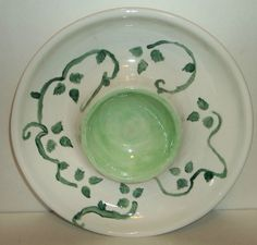 Chip and Dip Bowl Dish Green and White Pottery All in One Bowl #unknown