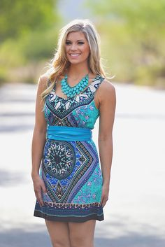 May Your Compass Be True Dress - Teal from Closet Candy Boutique