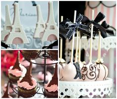 Maçãs decoradas, cupcakes e pirulitos de chocolate para tema Paris em aniversário infantil
