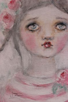 primitive folk art rose child painting k d milstein PFATT