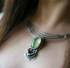 The Genesis of Life - Prehnite and Royal Imperial Jasper Sterling Silver Necklace via Etsy