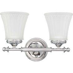 Teller Two Light Bath Vanity in Polished Chrome by Nuvo Lighting. $65.99. 60/4262 Features: -Two light bath vanity.-Frosted etched glass shade.-Contemporary style.-UL listed for damp location. Color/Finish: -Polished chrome finish. Specifications: -Accommodates (2) 100w A19 medium base bulb. Dimensions: -Overall dimensions: 9'' H x 13.5'' W x 6.625'' D. Collection: -Teller collection.