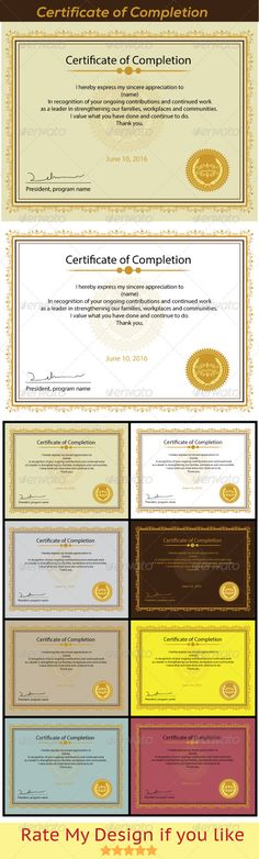 #Certificate of #Completion - Certificates #Stationery Download here: https://graphicriver.net/item/certificate-of-completion/5847004?ref=alena994