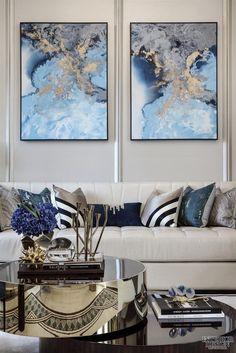 Living Room Art Blue Coffee Tables Ideas For 2019 Living Room Art, Living Room Designs, Silver Living Room, Classy Living Room, Blue Living Room Decor, Art Pour Salon, Blue Coffee Tables, Living Room Inspiration, Home Interior Design