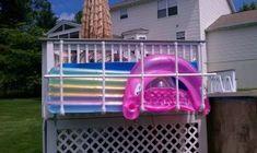 Raft/float storage for the pool. - Inflatable Pool Float - Ideas of Inflatable Pool Float - - Raft/float storage for the pool. Pool Toy Storage, Pool Float Storage, Pvc Pool, Pool Fun, Pool Organization, Swimming Pool Decks, Pool Rafts, Pool Care, Pool Accessories