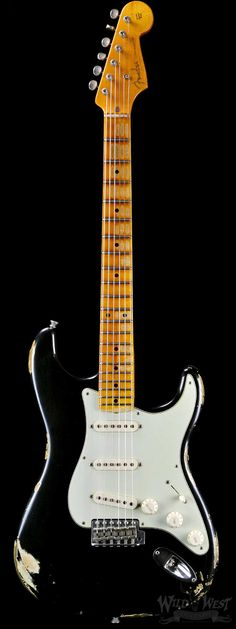 Fender 1956 AA Flame Stratocaster Relic Black - Wild West Guitars