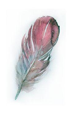 Watercolor Feather paintingArt originalFeather painting by rakla, $18.00
