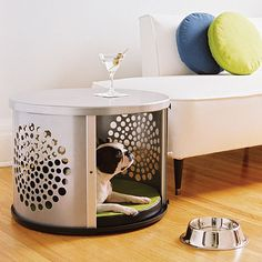 Don't know what to do with old washing machine drum? Here are some practical ideas to recycle washing machine drum into functional objects. Pet Beds, Dog Bed, Dog Crate End Table, Crate Bed, Old Washing Machine, Dog Crate Furniture, House Furniture, Wooden Furniture, Vintage Furniture