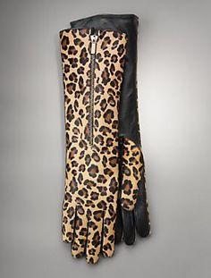 Leopard Gloves w/ cool zipper.