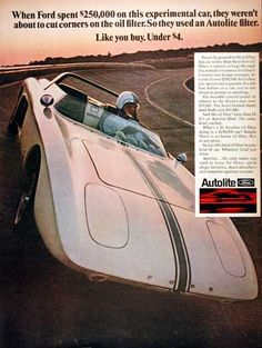 1968 Ford Prototype Concept Design Car original vintage advertisement. Photographed in vivid color and sponsored by Ford Autolite. This car featured an adjustable control panel ($10,000) and hand formed aluminum body ($50,000).