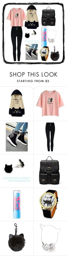 """""""Cat and me"""" by taylortot-a ❤ liked on Polyvore featuring WithChic, Sole Society, Maybelline and Skinnydip"""