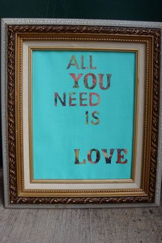 Upcycled love quote frame