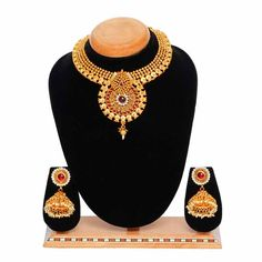 Aaishwarya Red Choker Party Necklace Set. Special Discounted Price: Rs 1,574/- #necklaceset #chokernecklaceset #ethnicnecklaceset #traditionalnecklaceset #fashionjewelry #bridalnecklaceset