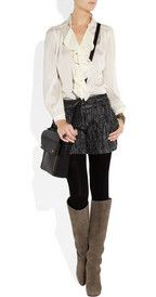 tweed shorts w/black tights and boots