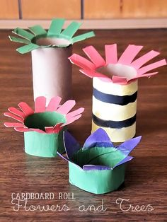 Cardboard Roll Flowers and Trees Kids Craft - including a Truffalo Tree for Dr. Seuss Day!