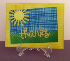 Thank you card using Spring Showers, Scripty Thanks, Large Stitched Rectangle Stackables dies by Lawn Fawn. Paper is Dress Me Up - Kaleidoscope by Prima Marketing (Julie Nutting).