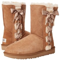 UGG Pala (Chestnut) Women's Cold Weather Boots ($210) ❤ liked on Polyvore featuring shoes, boots, ankle boots, platform ankle boots, cold weather boots, faux fur boots, laced up ankle boots and lace-up bootie