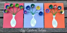 A Bunch of Bishops: Egg Carton Tulips Crafts From Recycled Materials, Recycled Crafts Kids, Recycled Art Projects, Easy Art Projects, Projects To Try, Crafts To Do, Crafts For Kids, Recycling Projects For Kids, Craft Activities For Kids