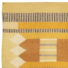 A Swedish Flat Weave Rug with a modern geometric and linear design composed with warm shades of yellow, mustard and bronze balanced with Ivory, Beige and Black. Signed MIA Bottom Right
